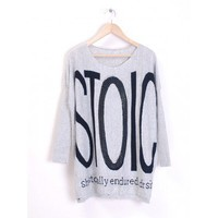 Light Grey Knitting Women Loose Letter Print Round Neck Free Size Sweater @H2719lg