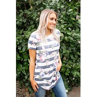 Planted In Stripes Floral Tee (Navy)