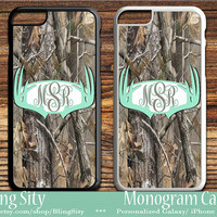Mint Antlers Monogram iPhone 6S Case Plus 5C Browning iPhone 5 4 Tough custom Cover Ipod Camo Deer Personalized Country Inspired Girl