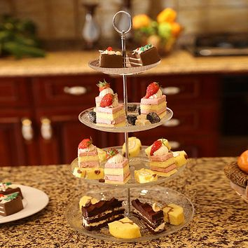 3 Tier VINTAGE STYLE Morden Style Glass Cake Wedding Cupcake Biscuit Food Stand