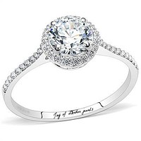 A Perfect 1.4CT Round Cut Russian Lab Diamond Halo Engagement Ring