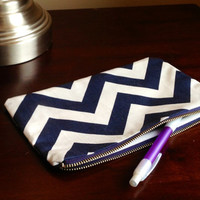 Make up cosmetic bag zipper pouch pencil case by BlueBearDesigns
