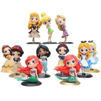 Tinkerbell Fairy Princess figure doll Q Posket Snow White Alice in Wonderland Ariel The Little Mermaid PVC Figure Model Toy