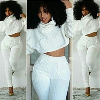 Women Two Pieces Set Knit Fitted Tops Casual Pant Suits [9221955396]