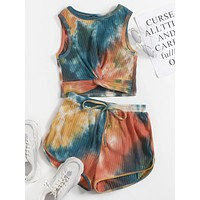 SHEIN Twist Front Rib-knit Tie Dye Top & Shorts Set