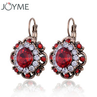 Free Shipping 2016 New Crystal Clip On Earring For Women 5 Colors Vintage Earring Flower Dangle Earing