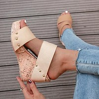 Fashionable, high-end, simple, new high-heeled waterproof platform sandals 43-size plastic heels for women