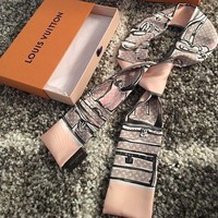 """Brand New Authentic LOUIS VUITTON Pink/Grey Trunk Luggage Print Silk scarf 46"""""""