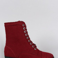 Women's Bamboo Faux Suede Pointy Toe Flat Lace Up Boot