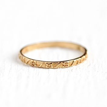 Flower Baby Band - Vintage 1930s 10k Rosy Yellow Gold Floral Ring - Size 1/4 Art Deco Midi Fine Children's Simple Classic Eternity Jewelry