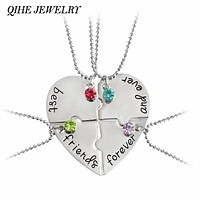 """4pcs/set """"best friend forever and ever"""" BFF Friend Necklace Set 4 Pieces Heart Shape Puzzle Hand Stamped Friendship"""
