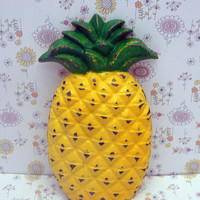 Pineapple Cast Iron Shabby Style Chic Wall Decor Tropical Kitchen Welcome Symbol of Hospitality Green Yellow Distressed Housewarming Gift