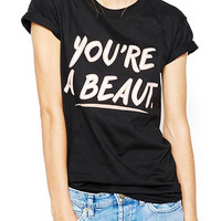 Black Oversized Boyfriend T-Shirt With Letter Print
