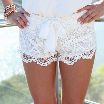 ONE FINE DAY LACE SHORTS , DRESSES, TOPS, BOTTOMS, JACKETS & JUMPERS, ACCESSORIES, 50% OFF SALE, PRE ORDER, NEW ARRIVALS, PLAYSUIT, COLOUR, GIFT VOUCHER,,SHORTS,White Australia, Queensland, Brisbane
