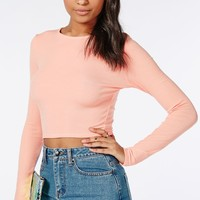 Missguided - Ribbed Long Sleeve Crop Top Peach