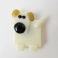 Dog Magnet - Fused Glass Magnet - Refrigerator Magnet - Gift Under 10 - Fridge Magnet - Unique Dog Lover Gift  - Dog Decor