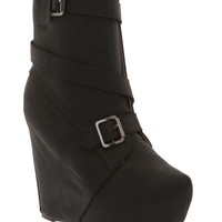 Black Buckle Wedge Boot | Hot Topic