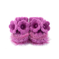 Hand Knitted Baby Booties with Crochet Bell Flowers - Purple, 3 - 6 months