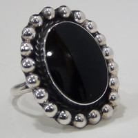Sterling Silver 925 Cocktail Ring with Black Onyx Centerpiece Stone