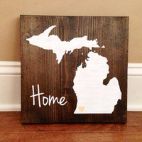 Michigan Wood Sign, Custom Michigan Sign, Stained and Hand Painted, Personalize, Michigan decor