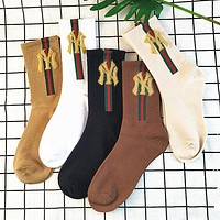 NY Autumn Fashion Women Letter Breathable Sport Cotton Socks