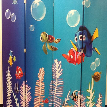Hand Made Finding Nemo Photo Print Japanese 4 Panel Room Divider