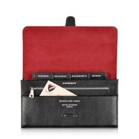 Aspinal of London Designer Handbags Jet Black Lizard & Red Suede Classic Travel Wallet