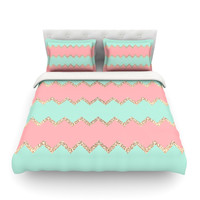 "Monika Strigel ""Avalon Soft Coral and Mint Chevron"" Queen Fleece Duvet Cover - Outlet Item"