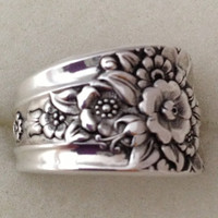 Spoon Ring Jubilee 1953 Size 6 to 12 Choose Your Size Vintage Silveplate