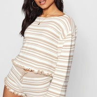 Stripe Frill Edge Shorts Set | Boohoo