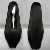 Promotion Shakugan no Shana 80cm Long Straight Black High Quality Synthetic Cosplay Wig,Colorful Candy Colored synthetic Hair Extension Hair piece 1pcs WIG-001A