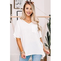 Act Casual Pocket Box Top | White