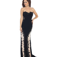 Black & Nude Strapless Lace Gown 2015 Prom Dresses