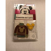 Disney Store 2018 Red Ugly Sweater and Mickey Icon Pin Set New with Card