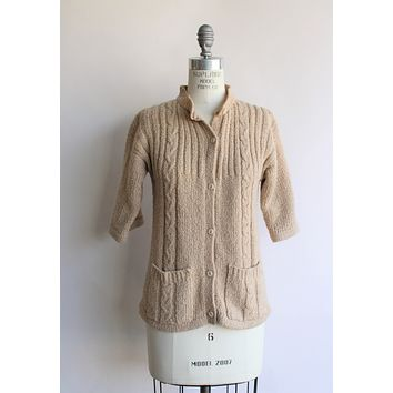 Vintage 1970s LeRoy Knitwear Tan Cable Knit Cardigan
