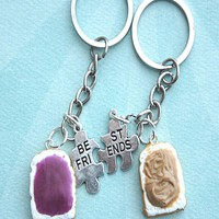 Peanut Butter and Jelly Toasts Friendship Keychain Set
