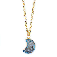Gray Ombre Crescent Moon Druzy Charm Necklace