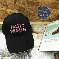 Nasty Woman Hat ,Hillary Clinton Baseball Cap, residential Election 2016 #NastyWoman Campaign  Low Profile, Black/White Pinterest Instagram