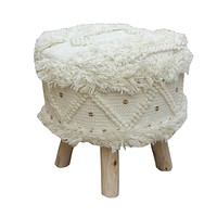 Mosaic Wool Boho Stool, Ivory, Natural Finish by Christopher Knight