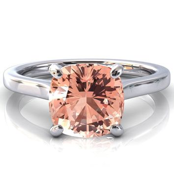 Darci Cushion Champagne Sapphire 4 Prong Cathedral Solitaire Engagement Ring