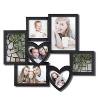 Decorative Black Plastic Wall Hanging Collage Picture Photo Frame with Hearts (7 Opening)