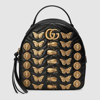GUCCI women's fashion trend of leisure and leisure wild animal rivet leather backpack F