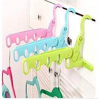 Home Accessories Foldable Clothes Hanger Drying Rack 5 Hole Racks Bathroom Door Airer Plastic Hook Organizer QW878465
