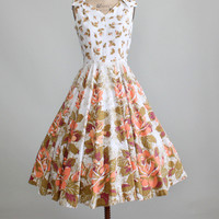Vintage 1950s Peach Garden Sundress