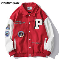 2020 New Arrival Brand Patchwork Single Breasted Appliques Bomber Jacket Men Embroidery Fashion Baseball Uniform Casual Coat