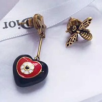 DIOR S925 Silvery Stylish Women Retro Bee Heart Pendant Earrings Accessories Jewelry