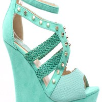MINT SNAKE EMBOSSED FAUX LEATHER SUEDE STUD WOVEN PLATFORM WEDGE