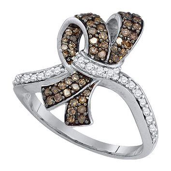 10kt White Gold Women's Round Brown Color Enhanced Diamond Knot Bow Ring 1/2 Cttw - FREE Shipping (US/CAN)