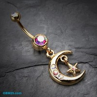 Golden Moon and Star Belly Button Ring