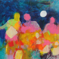 "Small Abstract Figure Painting, Colorful Intuitive Art, Original Acrylic Modern Art ""We Walk Forward Together"""